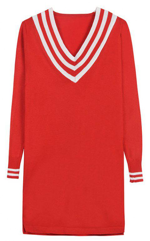 Women's Autumn Long Sleeve Mid-Length Base Skirt Sexy V-Neck Knit Dress - RED ONE SIZE