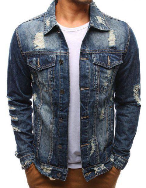 Men's Jeans Holes Beggars Jackets - DENIM DARK BLUE L