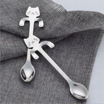 1Pcs Stainless Steel Cat Coffee Drink Spoon Tableware Kitchen Supplies - SILVER