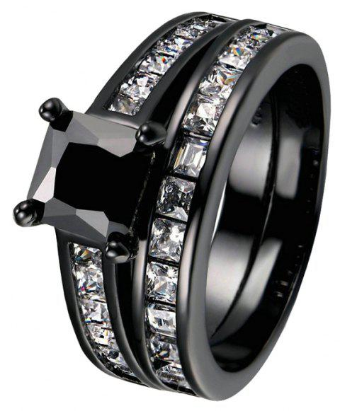 Fashion Black Gold Filled Square Black Zircon Woman Ring - BLACK US 11