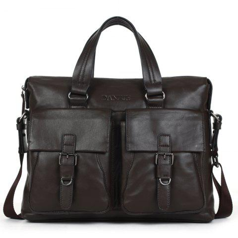 DANJUE Men Business Briefcase Genuine Leather Big Capacity Men Handbag - BROWN