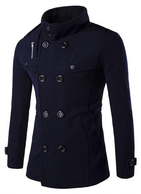 Men's Stylish Fashion Classic Wool Double Breasted Pea Coat - CADETBLUE 2XL
