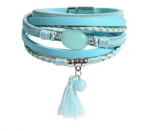 Ladies' Fashion Ethnic Style Multi-Layered Leather Magnet Clasp Bracelet - BLUE GREEN