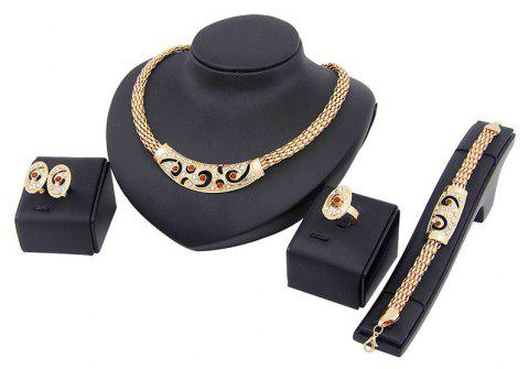 4pcs Exaggerated Punk Necklace Earrings Bracelet Ring Jewelry - GOLD