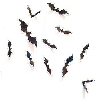 12Pcs Black 3D PVC Bat Wall Sticker Decal Halloween Festival Decoration