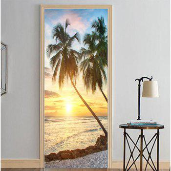 MailingArt 3D HD Canvas Print Door Wall Sticker Mural Home Decoration Coconut - multicolor 77X200CM 1PC