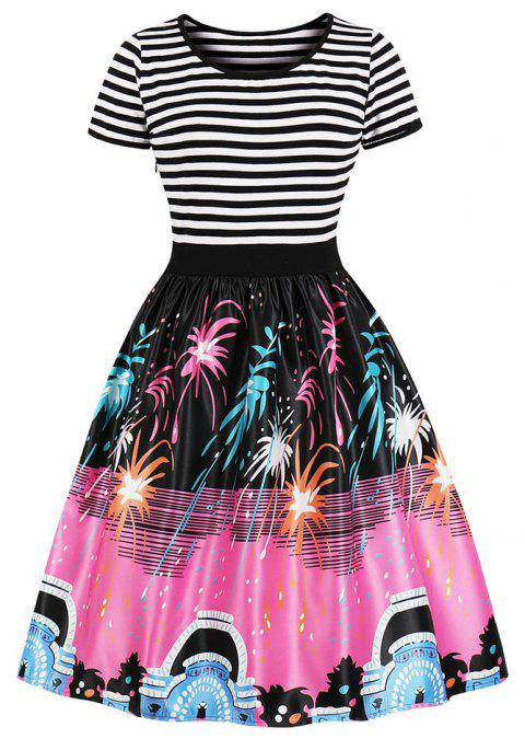Plus Size Round Collar Stripe Joining Together Printing Dress - HOT PINK 4XL