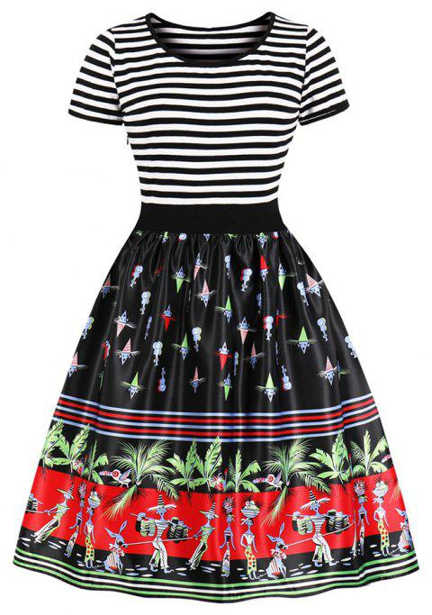 Plus Size Round Collar Stripe Joining Together Printing Dress - RED 3XL