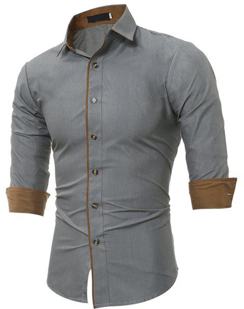 Personalized Striped Men'S Casual Slim Long-Sleeved Shirt - GRAY L