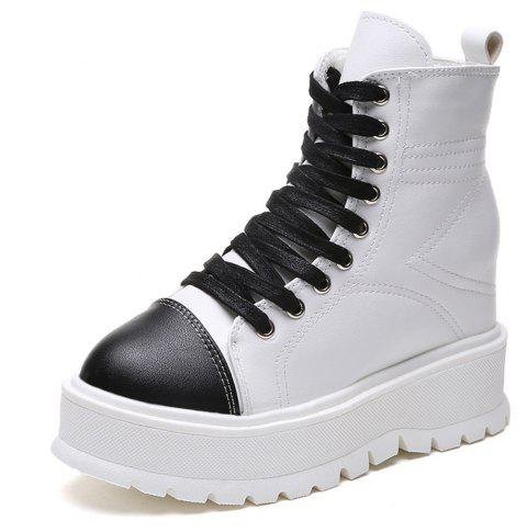 High Backed Lace Up Waterproof Table Leisure Shoes - WHITE 38