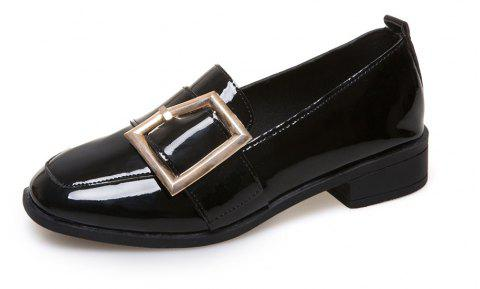 Low Belt Buckle Square Sole Shoes - BLACK EU 36