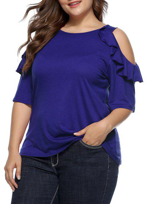 Round Collar Falbala Splicing Off Shoulder T Shirt - ROYAL BLUE XL