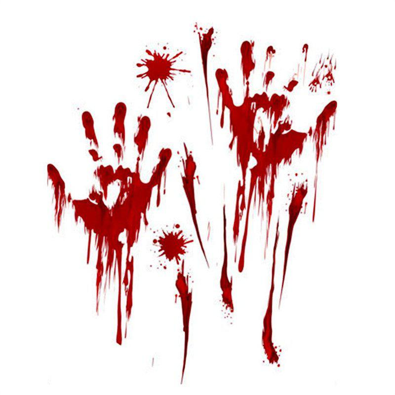 Horreur Bloody Handprint Footprint Decal Sticker Creepy - multicolor A