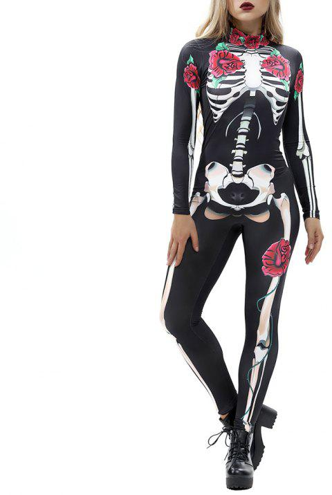 Women's  Print Zip Long-Sleeve Halloween Fashion Jumpsuit - multicolor H XL