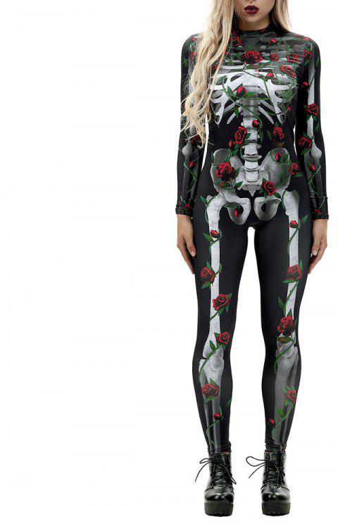 Women's  Print Zip Long-Sleeve Halloween Fashion Jumpsuit - multicolor M L