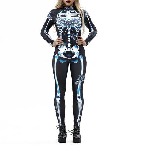 Women's  Print Zip Long-Sleeve Halloween Fashion Jumpsuit - multicolor I S