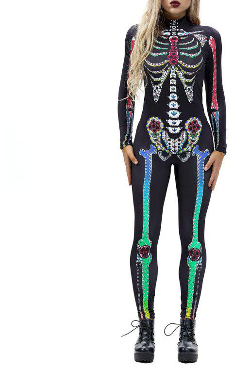 Women's  Print Zip Long-Sleeve Halloween Fashion Jumpsuit - multicolor O S