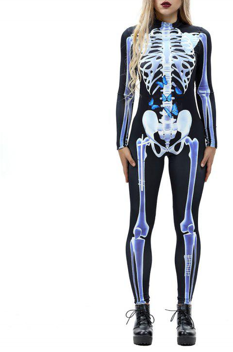 Women's  Print Zip Long-Sleeve Halloween Fashion Jumpsuit - multicolor L XL