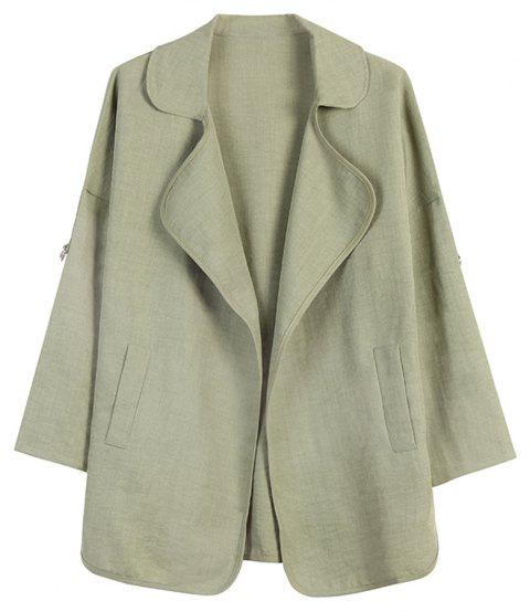 Women's Loose Lapel Long Sleeve Double Pocket Casual Jacket - IGUANA GREEN 3XL