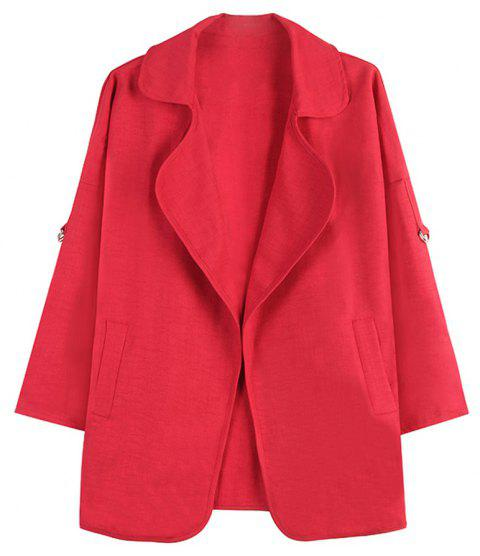 Women's Loose Lapel Long Sleeve Double Pocket Casual Jacket - RED 5XL