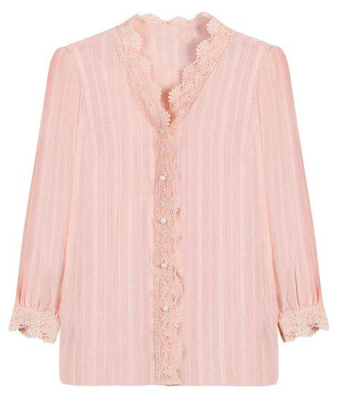 Large Size Women's Lace Stitching V-Neck Long-Sleeved Single-Breasted Thin Coat - PINK BUBBLEGUM L