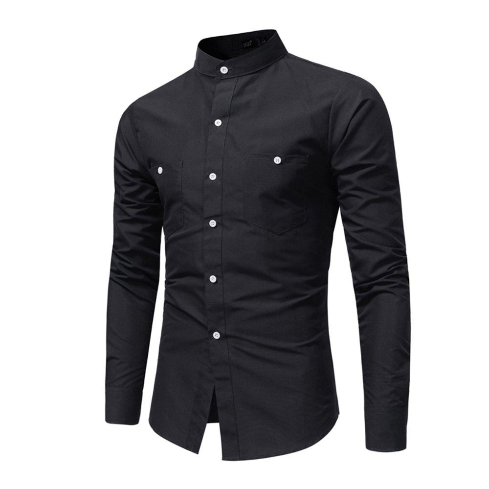 Men's British High Quality Stand Collar Long Sleeve Shirt Youth Fashion Solid Co - BLACK XL