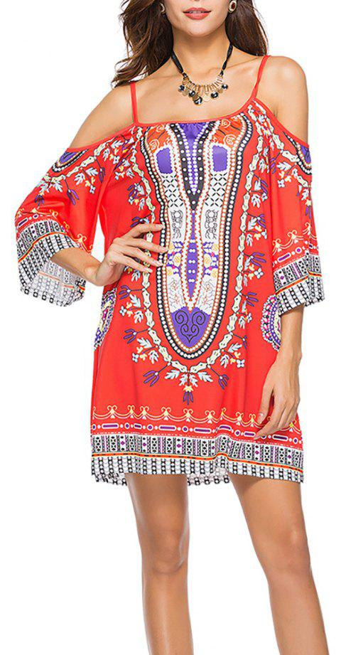 Women's Fashion Print Strap Half Sleeve Casual Mini Boho Dress - RED M