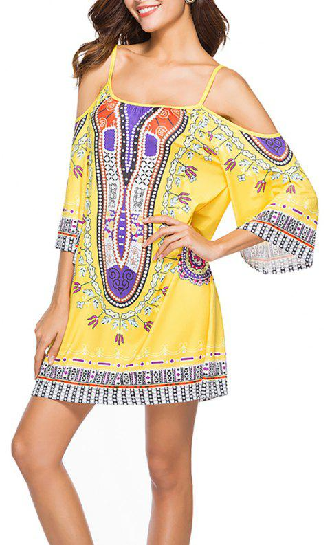 Women's Fashion Print Strap Half Sleeve Casual Mini Boho Dress - YELLOW M