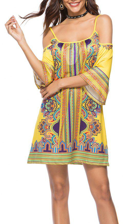 Women's Spaghetti Strap Off Shoulder Print Half Sleeve Boho Mini Dress - YELLOW XL