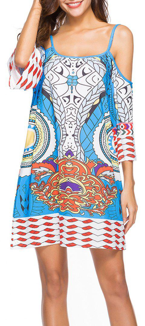Women's Fashion Print Half Sleeve Spaghetti Strap Beach Casual Mini Dress - BLUE L