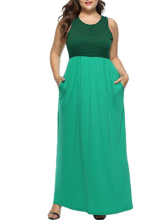 Round Collar Sleeveless Stripe Splicing Dress - FOREST GREEN 4XL