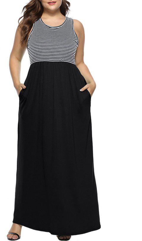 Round Collar Sleeveless Stripe Splicing Dress - BLACK 3XL