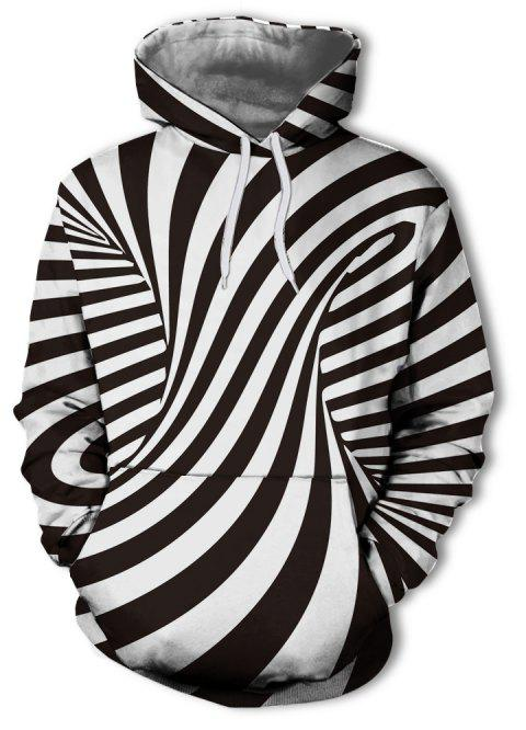 Men's New Fashion Stripe 3D Swirl Print Patch Pocket Hoodie Sweater - multicolor D 2XL