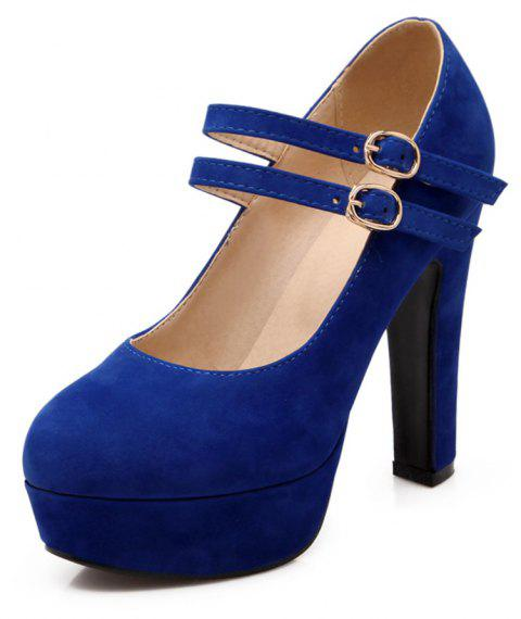 Suede Super High Heels Round Head Wedding Banquet Shoes - ROYAL BLUE EU 34
