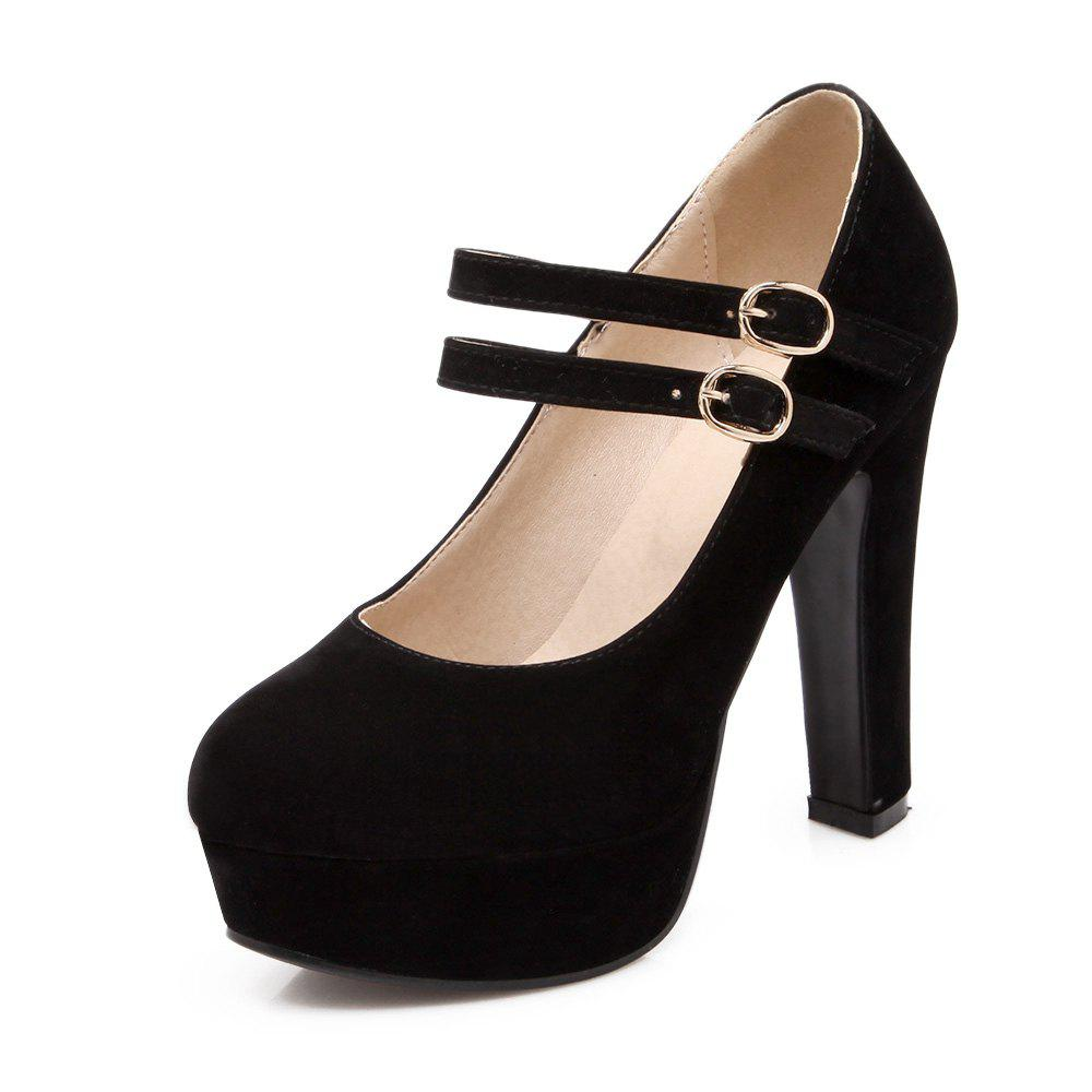 Suede Super High Heels Round Head Wedding Banquet Shoes - BLACK EU 39