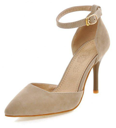 Suede Slim High Profile Buckled Pointed Bag  Simple Wedding Banquet Shoes - APRICOT EU 38