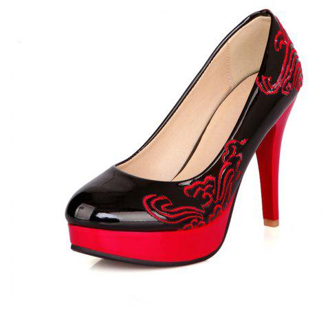 Traditional Embroidered High Heel Wedding Banquet Shoes - BLACK EU 42