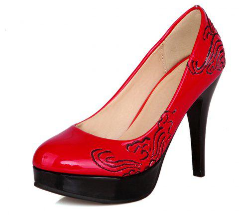 Traditional Embroidered High Heel Wedding Banquet Shoes - RED EU 46