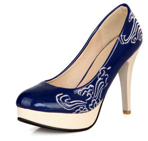 Traditional Embroidered High Heel Wedding Banquet Shoes - BLUE EU 43
