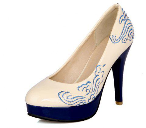 Traditional Embroidered High Heel Wedding Banquet Shoes - NATURAL WHITE EU 47