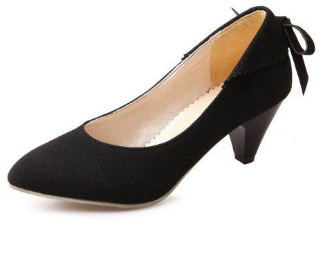 Bow Shaped Suede Tipped Glass with Simple Women'S Shoes - BLACK EU 38