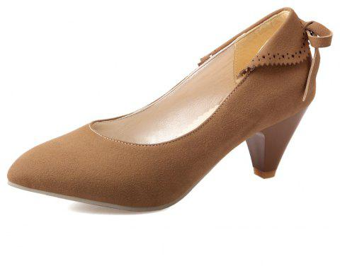 Bow Shaped Suede Tipped Glass with Simple Women'S Shoes - BROWN EU 38