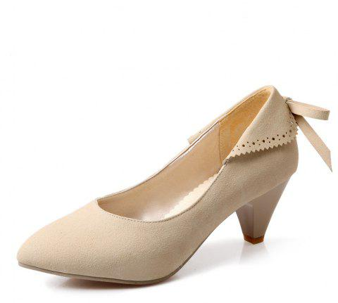 Bow Shaped Suede Tipped Glass with Simple Women'S Shoes - APRICOT EU 40