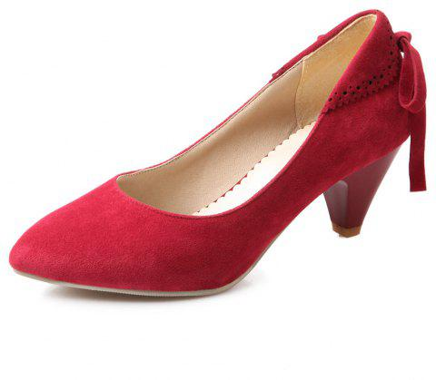 Bow Shaped Suede Tipped Glass with Simple Women'S Shoes - RED WINE EU 47