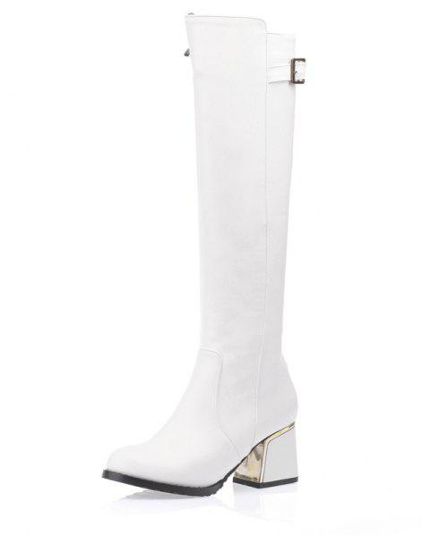 Winter Warm Thick Buckle Solid Color Zipper Knee Boots - WHITE EU 46
