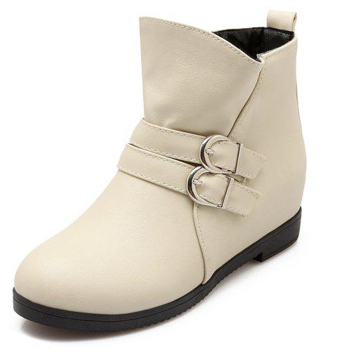 Lotus Leaf Buckle with Solid Sweet Casual Flat Ankle Boots - NATURAL WHITE EU 40