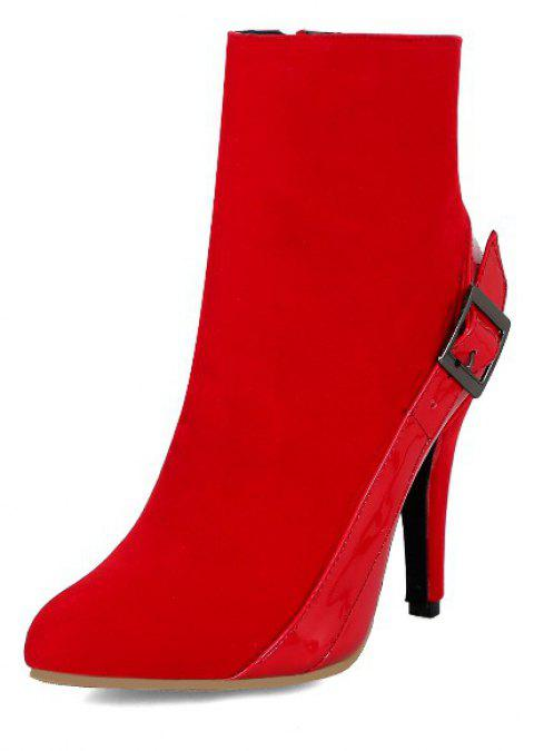 Wedding Dress Suede Stitching Zipper Slim High Fashion Boots - RED EU 34