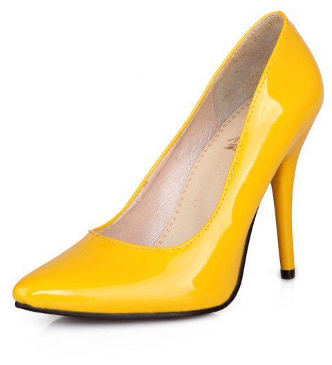 Sexy Womens Shoes with High Heels Pointy Wedding Reception - YELLOW EU 48