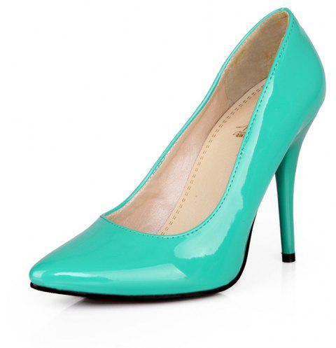 Sexy Womens Shoes with High Heels Pointy Wedding Reception - LIGHT SEA GREEN EU 35
