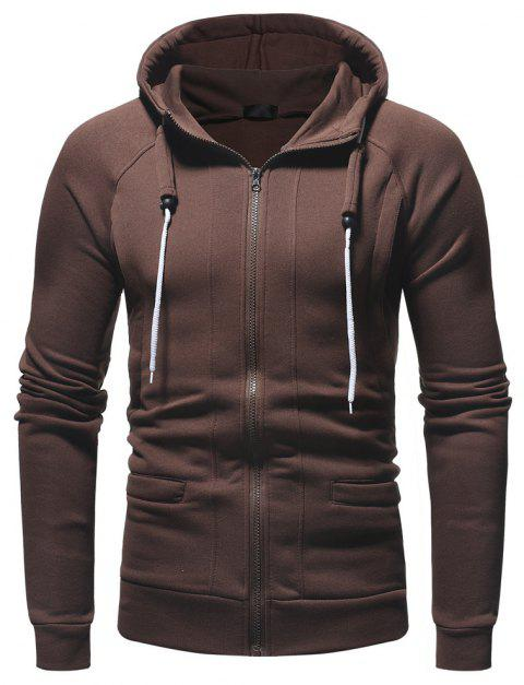 Men's Fashion Casual Slim Hooded Solid Color Sweater - DEEP COFFEE 2XL